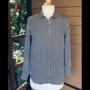 H&M Black & White Striped Button Down Blouse
